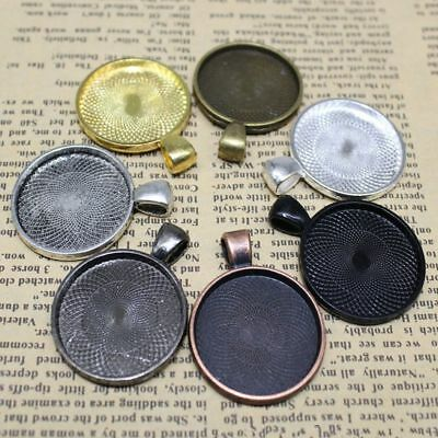 20 Pcs/Lot 25mm Round Pendant Tray Cameo Glass Cabochon Frame Blank Silver DIY