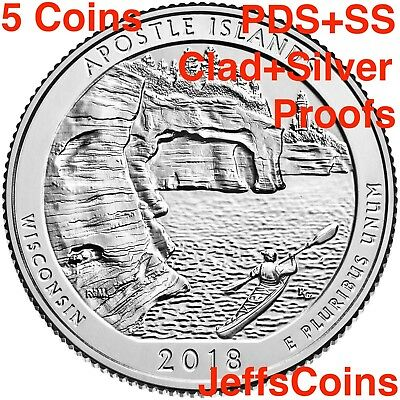 2018 PDSSS Apostle Islands Park WI +Clad&Silver Proof Quarter P D S S S ATB Best