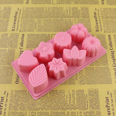 8 Cavity DIY Flower Shaped Silicone Non Stick Candy Baking Mould Ice Cube Mold