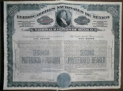 National Railways of Mexico Ferrocarriles Nacionales 1910 + Coupons uncancelled
