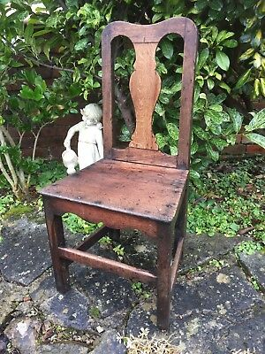 Antique Georgian Oak Country House Dining Or Hall Chair Circa 1800