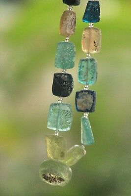 Ancient  Old Roman Glass Beads Square Collect Necklace Mixed Size 21 pcs