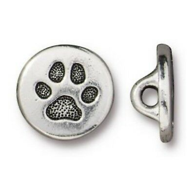 TierraCast Small Paw Button, Antique Silver Plated Lead Free Pewter (T737)