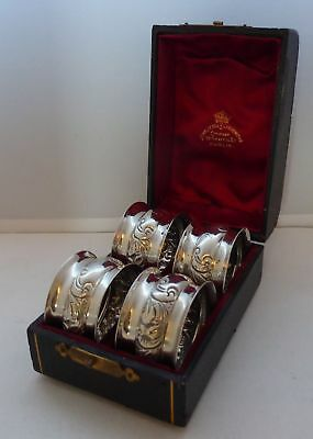 Boxed Set of 4 Hallmarked Solid Silver Napkin Rings Serviette Ring B'ham 1900