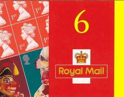 2001 GB  BARCODE BOOKLET PM3 PUNCH AND JUDY 6 x 1st CLASS STAMPS