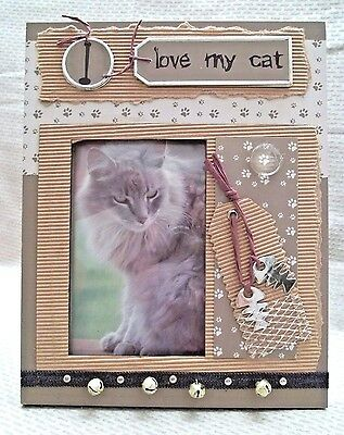 "I Love My Cat Photo Frame Holds 4"" x 5"" Feline Lover Kitty"
