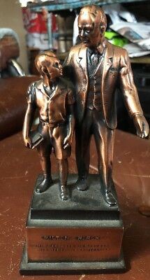 "Vintage Bronze Or Brass Statue Milton S. Hershey ""his Life Is Our Inspiration"""