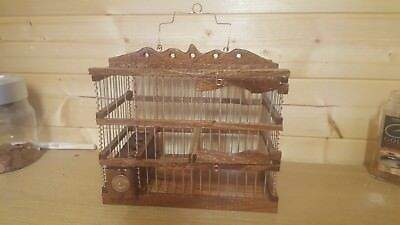 Hand made wooden bird Goldfinch Mule Canary Cage fully varnished with half penny