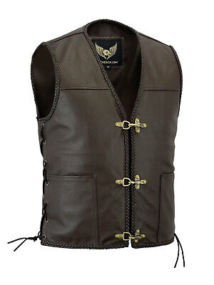 Mens Real Leather Biker Waistcoat Braided Fish Hook Buckle Side Laced Brown Vest