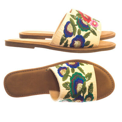 aebf7dfcd59 Maintain36 Wide Band Flat Slipper Slide Sandal w Stitched Floral Embrodery
