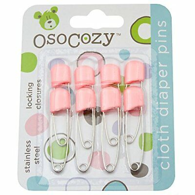 OsoCozy Diaper Pins - {Pink} - Sturdy, Stainless Steel Diaper Pins with Safe...