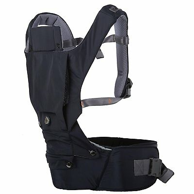 HUGPAPA Dial-Fit 3-in-1 Hip Seat Baby Carrier with Teething Pads Navy Blue