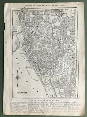 1917 Original Antique Map of the City of Buffalo, New York