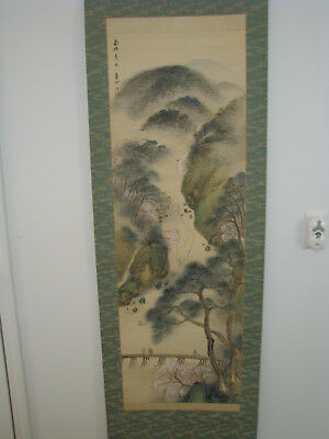 Japanese Hand Painted Hanging Scroll With Box - Spring Scenery