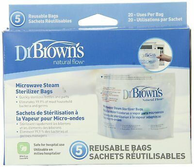 Dr. Brown's Microwave Steam Sterilizer Bags, 5 Count Pack of 3