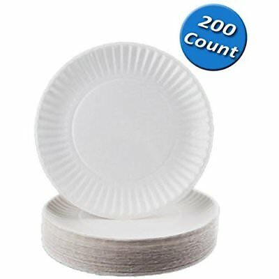 200 White Disposable Paper Plates 6 inch Party Wedding Dinner Dessert Dishes NEW