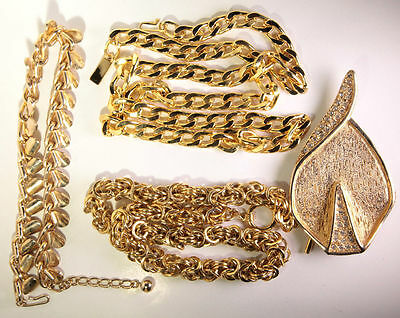 Vintage Lot of 4 heavy gold tone curb link chains studded leaf brooch