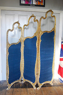 Antique Vintage French Dressing Screen with Glass Panes
