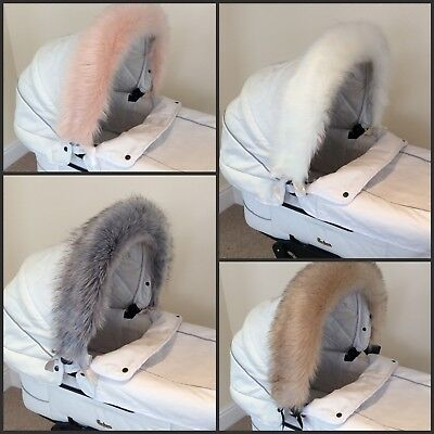 Luxury FAUX FUR Pram Hood Trim fits My Babiie Icandy Venicci Egg Journey Joolz