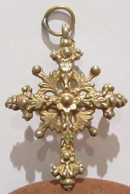 Amazing Very Rare Post-Medieval Silver Pendant Cross With Gold Plated # 178