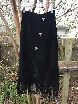 Vintage Continental Leather Fashions Western Cowgirl Fringe Skirt 26