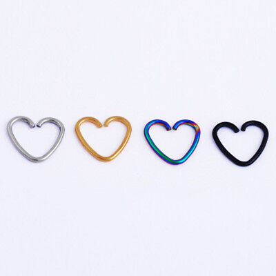 Heart Surgical Tragus Hoop Daith Steel Cartilage Ring Clicker Helix Piercing