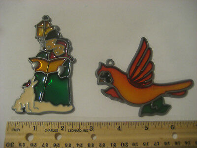 2 Piece Stained Plastic Lead Ornament Lot Carolers & Bird  FREE USA SHIPPING