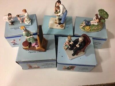 Lot of 5 Norman Rockwell Miniature Bisque Figurines