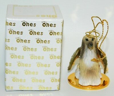 "Afghan Hound Dog Figurine Ornament Angel  Figure 2"" Tiny Ones 1996 Brown & Tan"