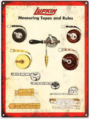 """1942 Lufkin Measuring Tapes and Rules Metal Sign Repro 9x12"""" 60400"""