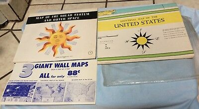 Vintage Book Enterprises MAP of the SOLAR SYSTEM SPACE & 50 STATE MAP OF US