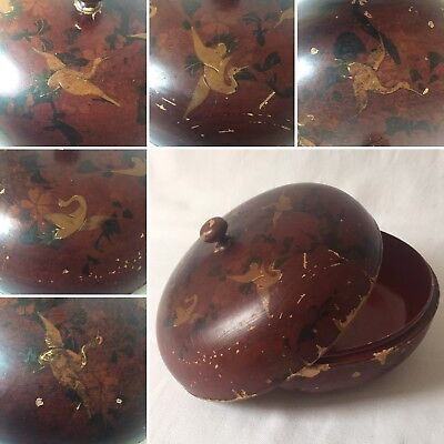 Beautiful Antique Japanese Lacquer Bowl Box Wooden featuring Cranes Birds