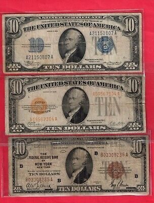 ***   [[  3  ]]  Series Of $10.00 Gold Seal Silver Cert And Fed Res  ***