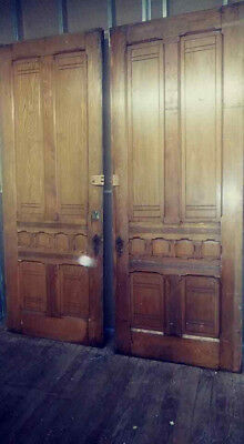 Set of Antique 1875 Solid Oak Pocket Doors with Original Hardware