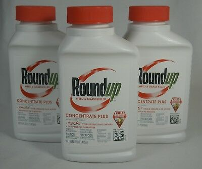 RoundUp Weed & Grass Killer Concentrate Plus Lot of 3 Bottles, 16 oz per Bottle