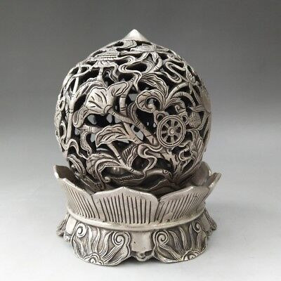 Chinese Tibetan silver hand-carved lotus pattern hollowed-out incense burner.