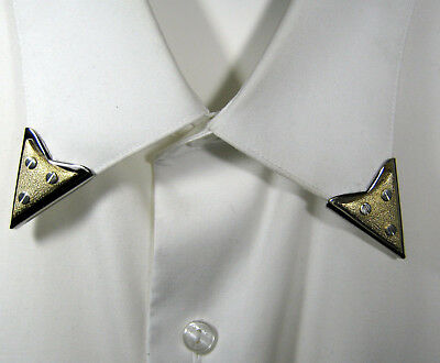 """Vintage Silver Tone Collar Tips With 3 """"Screws"""" In A Gold Tone Triangle Usa Made"""