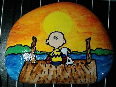 Snoopy Sunset Peanuts Original Hand Painted Rock Stone Art By Suzanne Foster