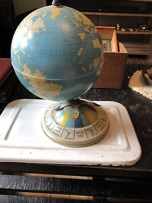 """Vintage 8"""" Magnetic Air Race All Metal World Globe - Replogle Globes Chicago"""