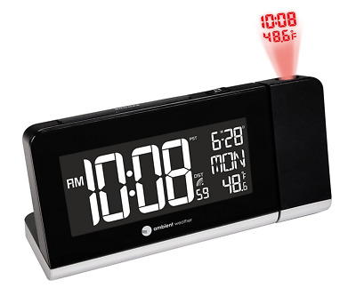 Ambient Weather RC-8465 Radio Controlled  Projection Alarm Clock with Color Chan