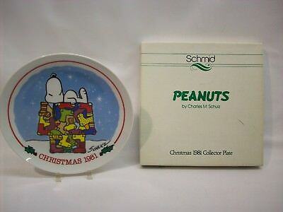 "Snoopy Peanuts ceramic decorative plate, ""Christmas 1981"", Schmid, w/box"