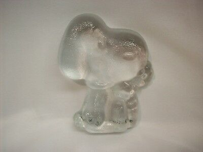 "Snoopy Peanuts 3D glass paper weight, ""sniff flowers"""
