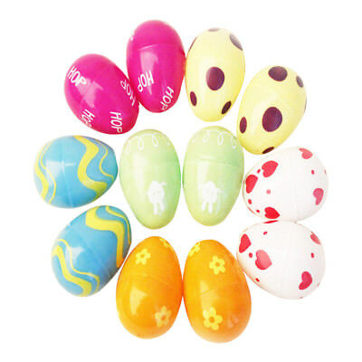 12Pcs Colorful Plastic Easter Egg Bright Candy Box Gift Party Decor Kids Toy DIY