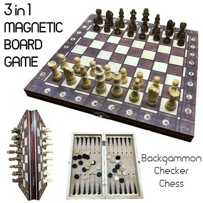 3 in 1 Magnetic Folding Chess Board Set Board Game Checkers Backgammon Board