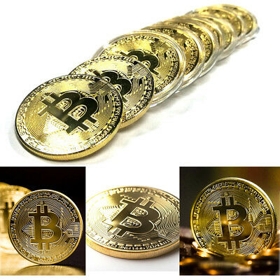 10pcs Gold Bitcoin Plated Physical Coin in protective Acrylic Case Commemorative