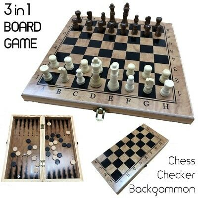 3 in 1 Folding Chess Board Game Set Board Game Checkers Game Backgammon Board