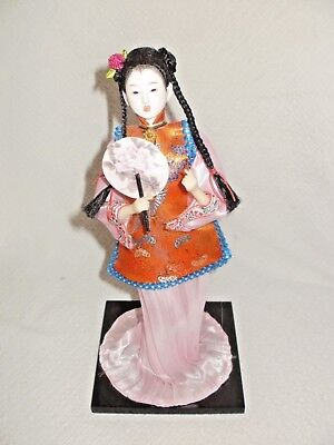 TRADITIONAL CHINESE DOLL, SILK,BRAIDS,PINK GOWN,w/STAND,