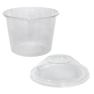 500x Clear Plastic Container with Dome Lid 625mL Round Disposable Rice Dish NEW