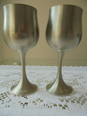 Vintage Stamped ROYAL SELANGOR 97% Pewter Wine Goblets Cups Glasses Engraved
