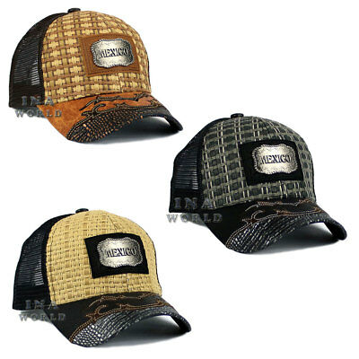 f8dd09aa387 MEXICO hat Straw Woven Mesh Western Style Metal patched Snapback Baseball  cap